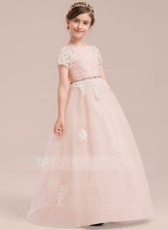 Ball Gown Floor-length Flower Girl Dress - Tulle Lace Short Sleeves Scoop  Neck With Beading - JJsHouse d29a7ebc1925