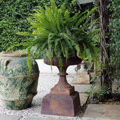 Large 19th century cast iron garden urn.