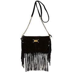black suede fringe cross body bag - cross body bags - bags / purses - women - River Island