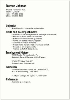 job resumes examples and samples