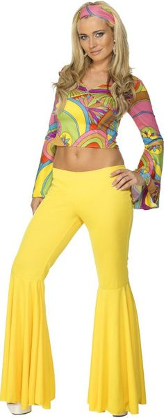 Multi Colours Flares and Top Costume, includes, yellow flares and psychedelic top. A great vibrant costume for any disco party! 70s Fashion, Colorful Fashion, Vintage Fashion, 70s Outfits, Vintage Outfits, Fashion Outfits, Retro Mode, Mode Vintage, Style Année 70