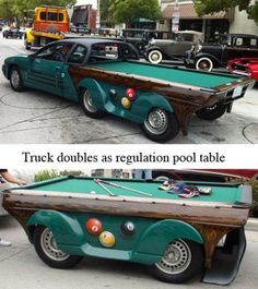 A truck that doubles as a pool table. How convenient. Car Furniture, Automotive Furniture, Weird Cars, Crazy Cars, Car Car, Antique Cars, Monster Trucks, Vehicles, Autos