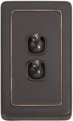 2 Gang Toggle Light Switch - Brown Toggle Base