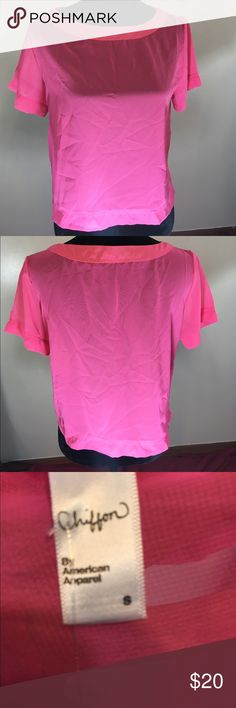 American Apparel Bubble Gum Tee Chiffon hot pink. Short sleeve. Armpit to armpit is 19 inches. Length is 20 inches. American Apparel Tops Crop Tops