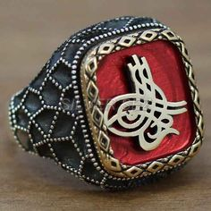 925 silver men ring honeycomb sultan signature red- 6721
