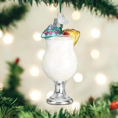 Old World Christmas Pina Colada Adult Beverages Glass Blown Ornaments for Christmas Tree Candy Land Christmas, Beach Christmas Ornaments, House Ornaments, Old World Christmas, Christmas Tree Decorations, Holiday Decor, Coastal Christmas, Christmas Kitchen, Pina Colada Glass