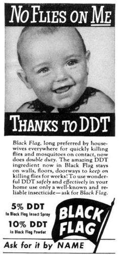 """No flies on me thanks to DDT"" Black Flag Insecticide Vintage Ad Retro Poster, Retro Ads, Vintage Posters, Retro Vintage, Retro Advertising, Advertising Fails, Advertising Signs, Vintage Black, Vintage Ladies"