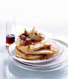 Cinnamon pancakes with whipped maple butter and candied walnuts - Gourmet Traveller
