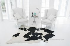 Jersey Road - Black and White 50/50 Cowhide Rug, $329.00 (http://www.jerseyroad.com/black-and-white-50-50-cowhide-rug/)
