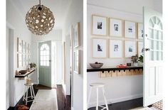entryway: pale wood framed picture wall, little boxes + pendant