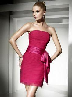 2012 Style Sheath / Column Strapless Bowknot Sleeveless Floor-length Organza Fuchsia Cocktail Dress / Homecoming Dress