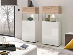 Modern high gloss white and light oak with glass 1 door cabinet