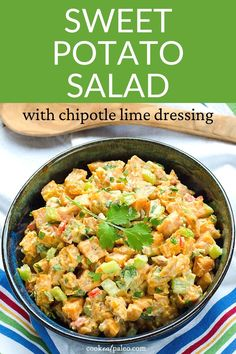 This easy cold sweet potato salad recipe is like potato salad but better! This healthy roasted sweet potato salad with chipotle lime dressing is paleo, gluten-free, dairy-free, vegan, and Whole30. The perfect side dish for a BBQ or dish to pass! Paleo Salad Recipes, Paleo Chicken Recipes, Paleo Recipes Easy, Vegetarian Recipes Dinner, Paleo Meals, Whole30 Recipes, Summer Recipes, Fall Recipes, Holiday Recipes