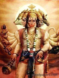 Sri Hanuman assumed Panchamukhi or five-faced form to kill Ahiravana, a powerful rakshasa black-magician and practitioner of the dark arts during the Ramayana Hanuman Photos, Hanuman Images, Lord Krishna Images, Hanuman Murti, Hanuman Chalisa, Rama Lord, Hanuman Ji Wallpapers, Lord Ganesha Paintings, Hindu Dharma