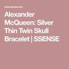 Alexander McQueen: Silver Thin Twin Skull Bracelet | SSENSE