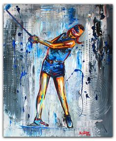 BURGSTALLER ORIGINALGolf Gemälde Bild Golfer Golfspieler Malerei Turnierpreis 68