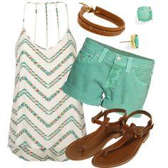 Cute chevron top. Sea greens make me think of the beach:)