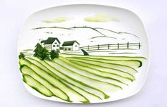 """Food painting 13 Incredible Tiny Paintings Made Out Of Food Landscape made from a single cucumber - and 12 other """"food paintings"""". I wish I was artistic sometimes! Campbell's Soup Cans, A Food, Food And Drink, Food Porn, Creative Food Art, Food Network Canada, Food Painting, Healthy Living Quotes, Eat Dessert First"""