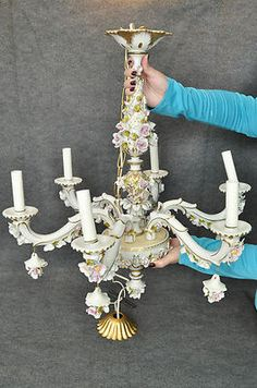 Antique Capodimonte Chandelier Handmade and Hand Painted From Italy