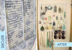Earrings storage and display with cheap fridge self  If you have an extra refrigerator shelf, grab some 3M self-adhesive hooks at the store and hang the shelf on a wall. You have an instant earring holder. Add some S-hooks, and you can also hang necklaces and bracelets.