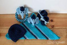 Baby Boy Crochet Set - using all free crochet patterns :) crocheted by Loopsan