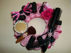 Image detail for -pink black mirror beads rollers ribbon brush comb salon decor spa hair ...