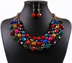Qiyun (TM) Multiple Round Beaded Torsade Chunky Bib Choker Collar Necklace Earrings Set Qiyun