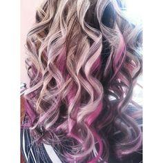 Pink hair underneath blonde .. my work