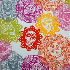 **colors**    Alexander Henry - Papel Bonita - Bright Mexican Lace Sugar Skull Doilies on White - Day of the Dead Fat Quarter