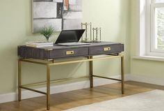 The Coast to Coast Estate Writing Desk appears to float above its open steel frame of brushed gold. This industrial-glam writing desk offers a spacious. Contemporary Desk, Best Desk, Beacon Hill, Desk With Drawers, Work Surface, Home Office Desks, Writing Desk, Perfect Place, Living Room