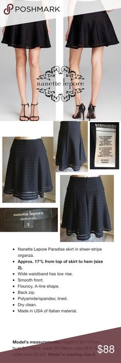 NWOT NANETTE LEPORE Paradise skirt in sheer stripe NWOT NANETTE LEPORE Paradise skirt in sheer stripe organza, gorgeous!  Please see pics for details.  SMOKE & PET FREE HOME.  44013❤️If you like an item, DON'T WAIT!  Make a reasonable offer.  Once it's gone, there's no bringing it back😊 Nanette Lepore Skirts
