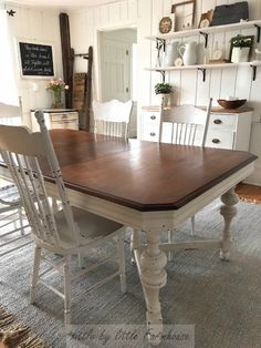 farmhouse dining room table makeover #farmhouse #farmhousediningroom #tablemakeover #diningroom #diningtable #diningtablemakeover #farmhousestyle #farmhousedecor Dining Table Makeover, Diy Dining Room Table, Farmhouse Dining Room Table, Farmhouse Chairs, Country Farmhouse, Farmhouse Decor, Dining Room Furniture Design, Restaurant, Evening Meals