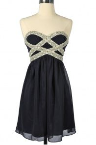 Sparkling Splendor Embellished Chiffon Designer Dress by Minuet in Midnight Blue