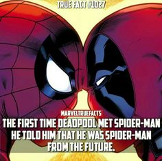 The first time Spider-Man met Deadpool Personal Opinion: Haha Spidey is gonna be so confused and such Deadpool Facts, Deadpool And Spiderman, Marvel Facts, Batman, Funny Marvel Memes, Dc Memes, Avengers Memes, Funny Memes, Hilarious
