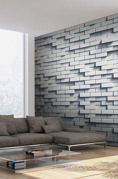 Papier peint mur de briques effet 3D Decor, Furniture, Sectional, Home, Couch, Sectional Couch, Home Decor