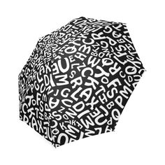 Alphabet Black and White Letters Foldable Umbrella (Model White Letters, Umbrellas, Alphabet, Black And White, Model, Black N White, Alpha Bet, Black White