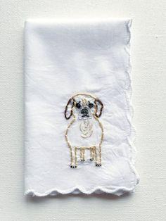 Custom Cat or Dog Embroidered Hankie    Custom Wedding Gift, Custom Dog, Custom Cat Gift, Personalized Dog Art, Holiday Gift idea, Christmas Gift Guide