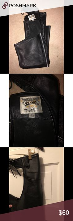 Wilson's Openroad Learher Chaps Women's size Large. Authentic Wilson's leather. Worn once, in perfect condition. Wilsons Leather Pants Wide Leg