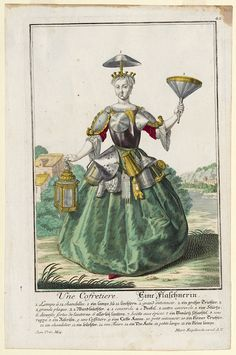 """Une Cofretiere"". Eine Flaschnerin. (Tinsmith's wife). By Martin Engelbrecht Augsburg, Germany, 1700-1756. Watercolor, engraved, etched, hand colored. Winterthur Museum"