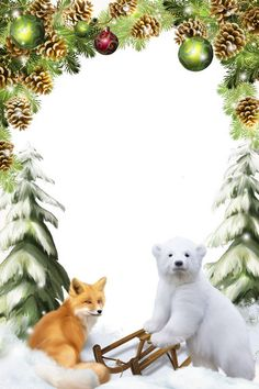 Set of Christmas 7 png frames for photos with Santa Claus and cartoon characters