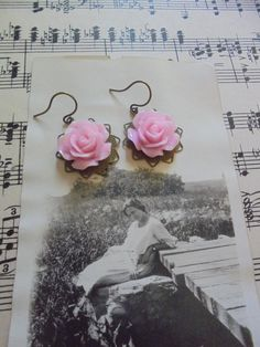 Romantic vintage style earrings with pink roses by salvagegardener on Etsy