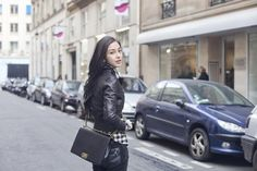 Chinese model Angelababy with black Chanel boy bag