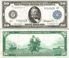 US 50 Dollar Note    Series 1914    Atlanta 6-F    Serial# F694940A  Signatures: Burke / Houston      Panama between two ships      Portrait: Ulysses S. Grant
