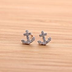 tiny ANCHOR stud earring with crystals