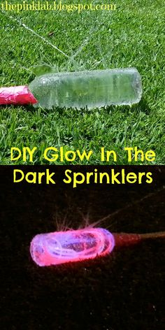 DIY Glow In The Dark Sprinklers- what a great idea for Summer FUN!-hook up a hose to a water bottle with glow sticks in it Summer Crafts, Fun Crafts, Stick Crafts, Cool Diy, Fun Diy, Do It Yourself Inspiration, Glow Party, Glow Sticks, Summer Activities