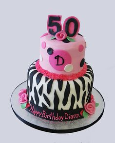50th birthday pink and black zebra print monogram birthday cake by Simply Sweets, via Flickr