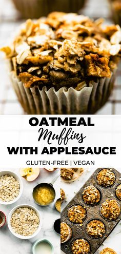 Made with gluten free rolled oats, crisp apples, and warm spices, these Apple Oatmeal Muffins are gluten free, refined sugar free, and kid-friendly. Make them ahead of time for allergy-friendly breakfasts, lunchbox snacks, and more! Vegan option.