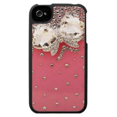 Cute Bow on Girly Pink Background Photo Print iPhone 4 Cases