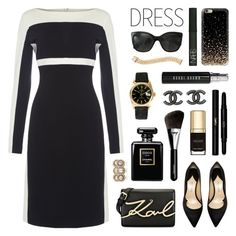 """""""On Trend: Two-Tone Dresses"""" by lgb321 ❤ liked on Polyvore featuring Lauren Ralph Lauren, Yves Saint Laurent, Karl Lagerfeld, Paul Andrew, Chanel, Rolex, Bobbi Brown Cosmetics, Dolce&Gabbana, NARS Cosmetics and Cartier"""