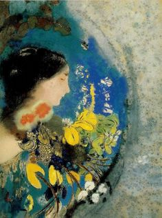 'Ophelia' (1902) by Odilon Redon. Redon floods this painting with rich, intoxicating color. Its theme is the death of the Ophelia from Shakespeare's Hamlet. Ophelia, driven to madness by Hamlet's cruel rejection, drowns while picking flowers. Redon portrays her immersed in a detached, imaginary world, surrounded by petals and leaves.